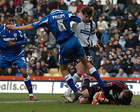 Photo: Ian Hebden.<br />Derby County v Millwall. Coca Cola Championship. 08/04/2006.<br />Derbys Lee Camp (R) saves at the feet of Millwalls Mark Phillips (R).