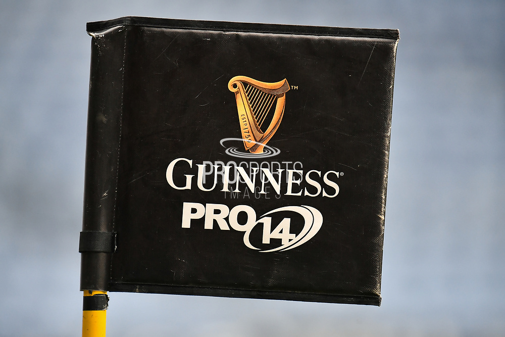 A corner flag during the Guinness Pro 14 Rainbow Cup match between Edinburgh Rugby and Zebre Rugby at BT Murrayfield, Edinburgh, Scotland on 23 April 2021.