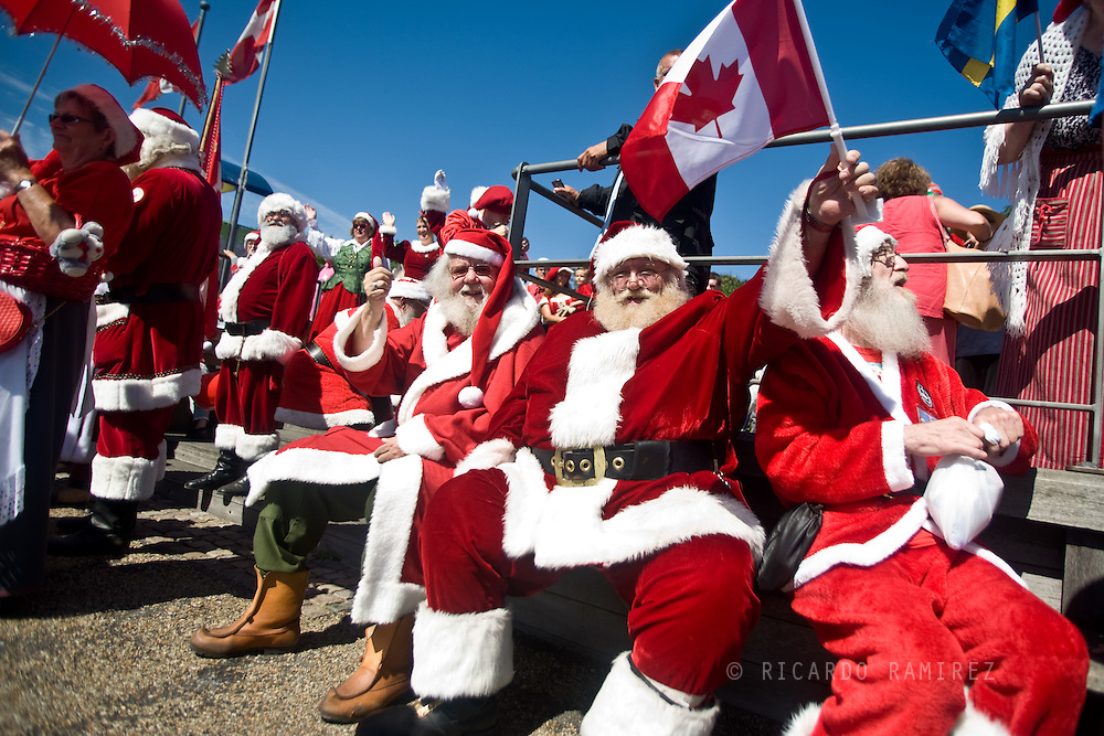 21.07.2014. Copenhagen, Denmark.About 120 Santas from all over the world are gathered to participate in the annual World Santa Claus Congress in Denmark.The activities on the program include a bicycle parade, Hula Hoop dancing and a dip in the Copenhagen harbor.Photo: © Ricardo Ramirez
