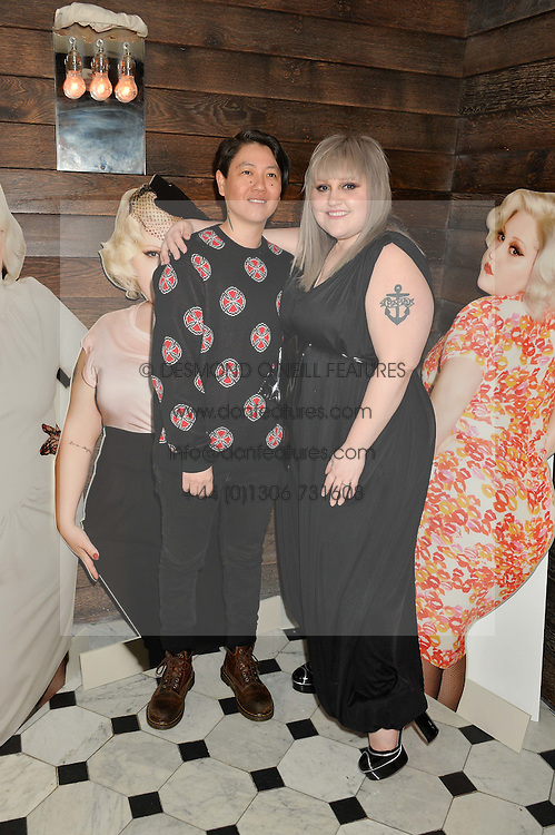 Left to right, KRISTIN OGATA and BETH DITTO at a party to celebrate the launch of the Beth Ditto Clothing Line held at The London Edition, Berners Street, London on 18th February 2016.