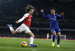 BRITAIN-LONDON-FOOTBALL-PREMIER LEAGUE-ARSENAL VS CHELSEA.(190120) -- LONDON, Jan. 20, 2019  Arsenal's Matteo Guendouzi (L) vies with Chelsea's Eden Hazard during the English Premier League match between Arsenal and Chelsea at the Emirates Stadium in London, Britain on Jan. 19, 2019. Arsenal won 2-0.  FOR EDITORIAL USE ONLY. NOT FOR SALE FOR MARKETING OR ADVERTISING CAMPAIGNS. NO USE WITH UNAUTHORIZED AUDIO, VIDEO, DATA, FIXTURE LISTS, CLUB/LEAGUE LOGOS OR ''LIVE'' SERVICES. ONLINE IN-MATCH USE LIMITED TO 45 IMAGES, NO VIDEO EMULATION. NO USE IN BETTING, GAMES OR SINGLE CLUB/LEAGUE/PLAYER PUBLICATIONS. (Credit Image: © Matthew Impey/Xinhua via ZUMA Wire)