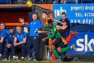Coventry City defender Dujon Sterling (17) on loan from Chelsea, and Luton Town forward James Collins battle for the ball during the EFL Sky Bet League 1 match between Luton Town and Coventry City at Kenilworth Road, Luton, England on 24 February 2019.