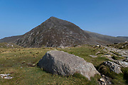 Landscape view looking towards the summit of Pen yr Ole Wen on 17th September 2020 in Pont Pen-y-benglog, Snowdonia, Wales, United Kingdom. Snowdonia is a mountainous region in northwestern Wales and a national park of 823 square miles in area. It was the first to be designated of the three national parks in Wales, in 1951.