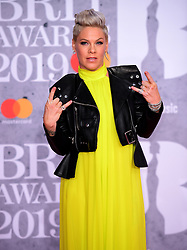 Pink attending the Brit Awards 2019 at the O2 Arena, London.