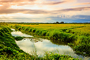 Aug. 2019, Hoi an: Sunset over the Irrigation canal for the adjacent Rice Fields in Hoi an. The Sunset Clouds are reflected in the water. RAW to Jpg
