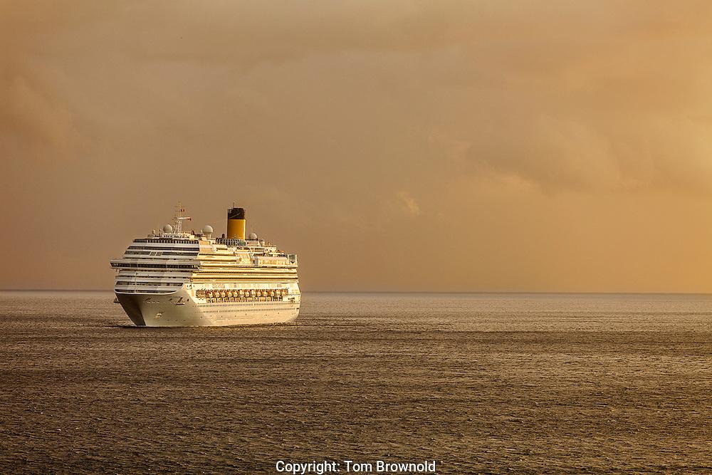At sunset at sea