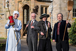 Edinburgh, Scotland, United Kingdom . 27th February, 2018. Volunteers wearing Edwardian costumes prepare to give Lauriston Castle in Edinburgh a Spring clean in preparation for the public opening later in the year. Pictured, Hilary Lovie, Chris Pearson, Linda MacDonald and Gordon Roberts.
