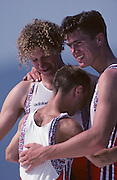 Barcelona, SPAIN. Gold medalist, GBR M2+, Jonny SEARLE and  [standing right] Greg SEARLE with cox, Gary HERBERT. 1992 Olympic Rowing Regatta Lake Banyoles, Catalonia [Mandatory Credit Peter Spurrier/ Intersport Images] Last time Men's coxed pair raced at the Olympics