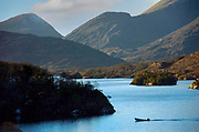 A fisherman on The Upper Lake trolling for salmon in County kerry Ireland<br /> Picture by Don MacMonagle -macmonagle.com