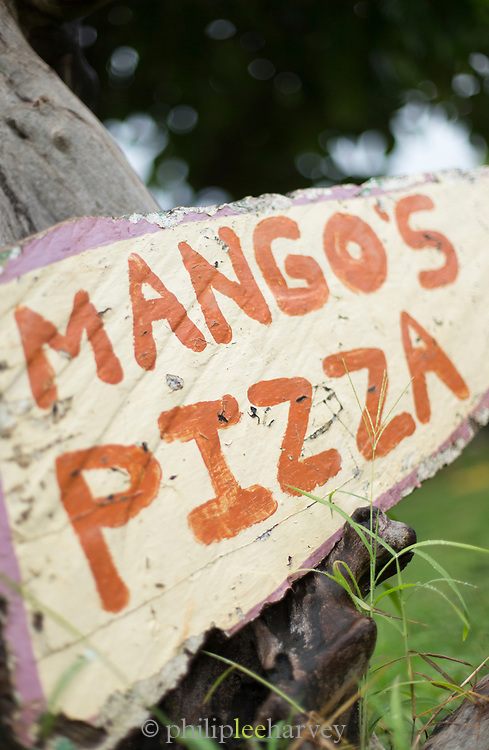 Close-up of a restaurant sign with text, Little Corn Island, Nicaragua
