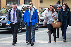 "© Licensed to London News Pictures. 05/02/2018. Liverpool, UK. Tom Evans (centre, blue coat) father of Alfie Evans arrives at Liverpool Civil & Family Court this morning with supporters. Tom Evans and Kate James from Liverpool are in dispute with medics looking after their son 19-month-old son Alfie Evans, at Alder Hey Children's Hospital in Liverpool. Alfie is in a ""semi-vegetative state"" and had a degenerative neurological condition doctors have not definitively diagnosed. Specialists at Alder Hey say continuing life-support treatment is not in Alfie's best interests but the boy's parents want permission to fly their son to a hospital in Rome for possible diagnosis and treatment. Photo credit: Andrew McCaren/LNP"