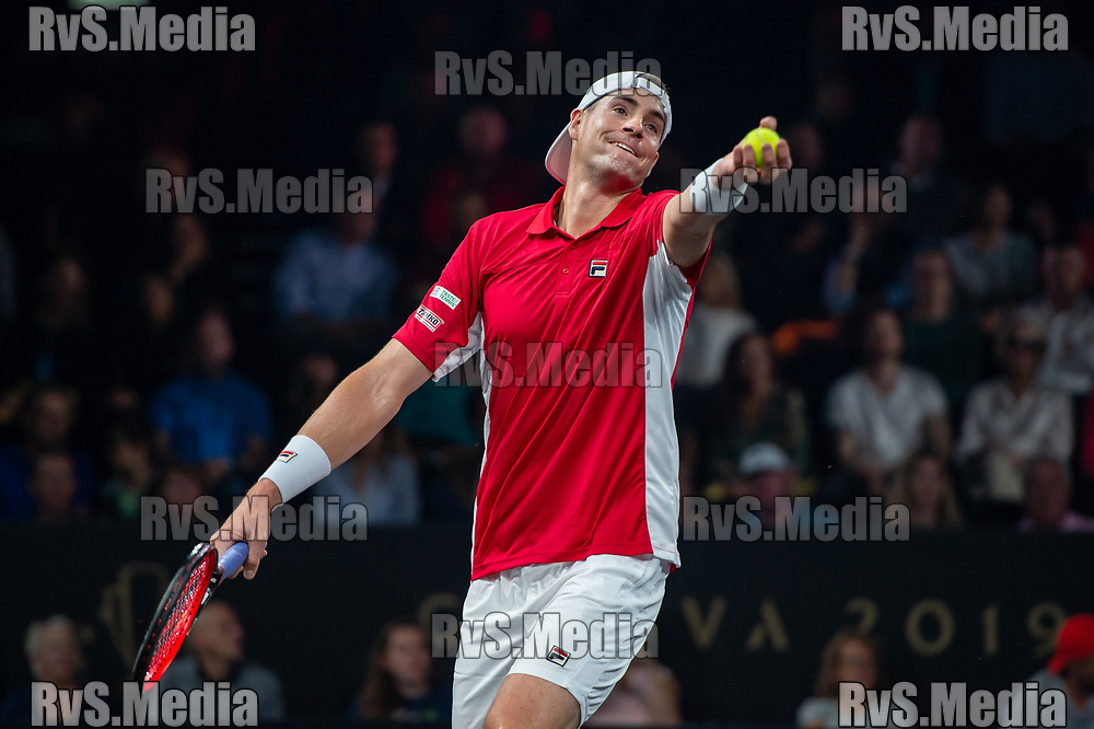 GENEVA, SWITZERLAND - SEPTEMBER 21: John Isner of Team World serves during Day 2 of the Laver Cup 2019 at Palexpo on September 21, 2019 in Geneva, Switzerland. The Laver Cup will see six players from the rest of the World competing against their counterparts from Europe. Team World is captained by John McEnroe and Team Europe is captained by Bjorn Borg. The tournament runs from September 20-22. (Photo by Monika Majer/RvS.Media)
