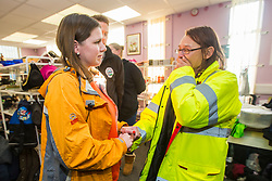 © Licensed to London News Pictures. 12/11/2019. Stainforth UK. Liberal Democrat leader Jo Swinson meets an emotional Rosie Squires from Stainforth while visiting Stainforth in Yorkshire today to meet people affected by recent flooding. Jo is meeting the organisers of the charity Stainforth4All & helping to sort clothing. Photo credit: Andrew McCaren/LNP