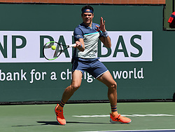 March 16, 2019 - Indian Wells, CA, U.S. - INDIAN WELLS, CA - MARCH 15: Milos Raonic (CAN) returns the ball in the second set of a semifinals match played during the BNP Paribas Open at the Indian Wells Tennis Garden in Indian Wells, CA.  (Photo by John Cordes/Icon Sportswire) (Credit Image: © John Cordes/Icon SMI via ZUMA Press)