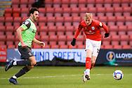 Crewe Alexandra midfielder Charlie Kirk (10) has a shot during the EFL Sky Bet League 1 match between Crewe Alexandra and AFC Wimbledon at Alexandra Stadium, Crewe, England on 23 January 2021.