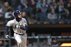 April 21, 2018 - Chicago, IL, U.S. - CHICAGO, IL - APRIL 21: Houston Astros right fielder Josh Reddick (22) watches his home run during a game between the and the Houston Astros the Chicago White Sox on April 21, 2018, at Guaranteed Rate Field, in Chicago, IL. (Photo by Patrick Gorski/Icon Sportswire) (Credit Image: © Patrick Gorski/Icon SMI via ZUMA Press)
