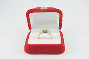 Diamond Engagement Ring in red box on white background