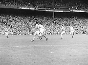 Roscommon prepares to make a kick towards the Armagh goalpost during the All Ireland Senior Gaelic Football Semi Final Replay Roscommon v Armagh in Croke Park on the 28th August 1977. Armagh 0-15 Roscommon 0-14.