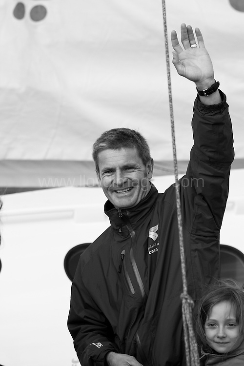 """30th October 2010. St Malo. France..Pictures of Sidney Gavignet skipper of the Oman Air """" Majan""""  leaving the race village today prior to the race start. Shown onboard with VIP's and his family"""