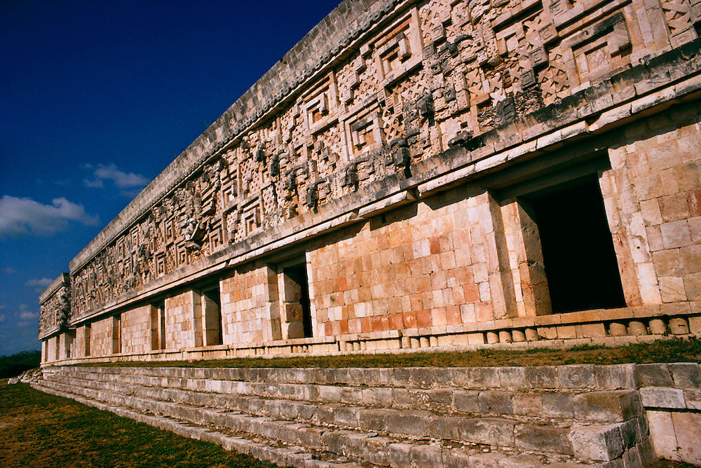 """The Mayan ruins of the Governor's Palace at Uxmal, meaning """"thrice-built."""" Yucatan, Mexico.."""