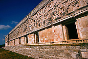 "The Mayan ruins of the Governor's Palace at Uxmal, meaning ""thrice-built."" Yucatan, Mexico.."