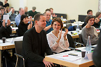 DEU, Deutschland, Germany, Berlin, 10.12.2016: Kultursenator Klaus Lederer und Katja Kipping beim Landesparteitag von Die Linke im WISTA-Veranstaltungszentrum Adlershof.