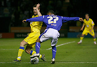 Photo: Steve Bond.<br />Leicester City v Leeds United. Coca Cola Championship. 13/03/2007. Levi Porter (right) attacks Frazer Richardson (left)