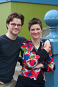 "Icelandic sculptor Ilmur Stefnsdottir and her partner, the actor Valur Freyr Einarsson. Ilmur, pregnant with her fourth child, is experimenting with a piece of her performance art; focusing on the connection between people and objects and using common objects in an uncommon fashion.  ""People misunderstand objects in their environment,"" she says, ""I'm exploring visually how this happens."" Valur occasionally acts in performances that center on his partner's artworks; most recently in a show called Common Nonsense that they and a troupe of actors performed in Reykjavik, Stockholm, and London. MODEL RELEASED."