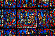 Medieval Windows  of the Gothic Cathedral of Chartres, France, dedicated to Notre Dame de la Belle Verriere. The panels show the wedding at Cana. .<br /> <br /> Visit our MEDIEVAL ART PHOTO COLLECTIONS for more   photos  to download or buy as prints https://funkystock.photoshelter.com/gallery-collection/Medieval-Middle-Ages-Art-Artefacts-Antiquities-Pictures-Images-of/C0000YpKXiAHnG2k