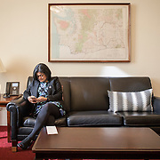 Representative Pramila Jayapal (D-WA, 7) spends a solitary moment in her Congressional office, speaking on the phone, before a series of meetings with constituent groups, on Tuesday, January 31, 2017. For The Stranger (Seattle, WA).