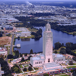 aerial view of Louisiana State Capitol building in Baton Rouge Louisiana