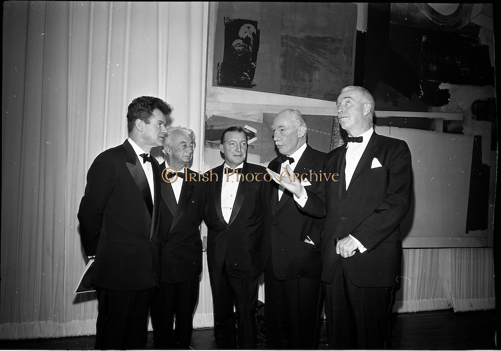 12/11/1967<br /> 11/12/1967<br /> 12 November 1967<br /> Offical opening of ROSC art exhibition at the R.D.S., Dublin. Image shows R-L:    Mr John D.J. Moore, Vice President W.R. Grace and Co. New York, one of the sponsors of the exhibition; Mr James Johnson Sweeny, Director of the Fine Arts Museum, Houston, a juror; Mr Charles Haughey, T.D., Minister for Finance, and Dr. Willem Sandberg, Chairman of the Israel Museum, Jerusalem, one of the jurors of the exhibition.