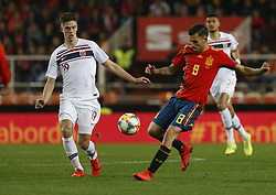 March 23, 2019 - Valencia, Community of Valencia, Spain - Spain's Daniel Ceballos and Norway's Markus Henriksen seen in action during the Qualifiers - Group B to Euro 2020 football match between Spain and Norway in Valencia, Spain. Spain beat Norway, 2-1 (Credit Image: © Manu Reino/SOPA Images via ZUMA Wire)