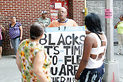 New York, NY- July 23: Atmosphere at the funeral of Eric Garner, who fell victim to tactics of the NYPD Officer who rendered him in a chokehold on July 20, 2014 in Staten Island. His funeral was held on July 23, 2014 at Bethel Baptist Church in New York City.  (Terrence Jennings)
