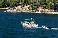 The Yacht 'Retreat' heads into Long Harbour on Salt Spring Island, British Columbia, Canada.