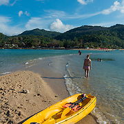 Yellow kayak in Ko Ma island beach near Phangan island, Thailand