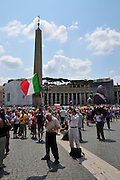 Vatican City, Rome, Italy St. Pietro (St Peter's) square. Masses gather to hear a sermon by His Holiness Pope Benedict XVI