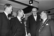 28/04/1964<br /> 04/28/1964<br /> 28 April 1964<br /> Shop Equipment Exhibition Opened at the Intercontinental Hotel, Dublin. Minister for Industry and Commerce, Jack Lynch T.D., opened the exhibition on behalf of the R.G.D.A.T.A. (Retail Grocery Dairy & Allied Trades Association). Chatting after the opening were (l-r): Mr. Leo Keogh, General Secretary R.G.D.A.T.A.; Mr Jack Lynch T.D.; Mr. Nils Erik Ekblad, Swedish Ambassador and Mr. P.J. Cleary, President of the R.G.D.A.T.A..