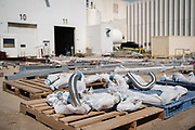 Various pieces of piping and connecting equipment waits to be installed at the Puris pea protein processing facility in Dawson, Minnesota, on Tuesday, June 8, 2021.