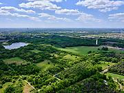 Nederland, Noord-Brabant, Tilburg-Noord; 14–05-2020; recreatiegebied Noorderbos, aangelegd op voormalige vloeivelden (gebruikt voor waterzuivering). Foto richting Noorderplas en Tilburg.<br /> Noorderbos recreation area, built on former flow fields (used for water purification).<br /> <br /> luchtfoto (toeslag op standaard tarieven);<br /> aerial photo (additional fee required)<br /> copyright © 2020 foto/photo Siebe Swart