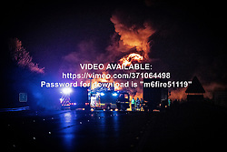 "© Licensed to London News Pictures. 05/11/2019. Coventry, UK. VIDEO AVAILABLE AT: https://vimeo.com/371064498 - password for download is ""m6fire51119"". A lorry fire on the South-East bound carriageway of the M6 north of Coventry prompts police to close the motorway to all traffic in both directions whilst firefighters tackle the blaze . Miles of traffic tails back and the route is expected to remain closed for several hours . Photo credit: Joel Goodman/LNP"