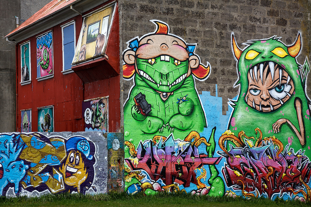 Colorful graffiti and street art adorns homes and buildings in Graffiti Park in Iceland's capital city of Reykjavík.