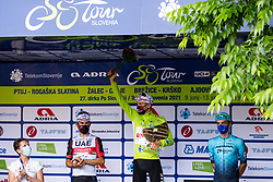 Sonja Gole, second placed Diego ULISSI of UAE TEAM EMIRATES, winner Tadej POGACAR of UAE TEAM EMIRATES and third placed Matteo SOBRERO of ASTANA - PREMIER TECH at trophy ceremony after the 5th Stage of 27th Tour of Slovenia 2021 cycling race between Ljubljana and Novo mesto (175,3 km), on June 13, 2021 in Slovenia. Photo by Matic Klansek Velej / Sportida