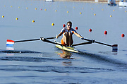 20040814 Olympic Games Athens Greece [Rowing]<br /> Photo  Peter Spurrier <br /> NED W1X Femke Dekkers, moves off the start on the opening day of the Olympic regatta.<br /> <br /> email;  images@intersport-images.com<br /> Tel +44 7973 819 551<br /> T<br /> <br /> <br /> [Mandatory Credit Peter Spurrier/ Intersport Images]