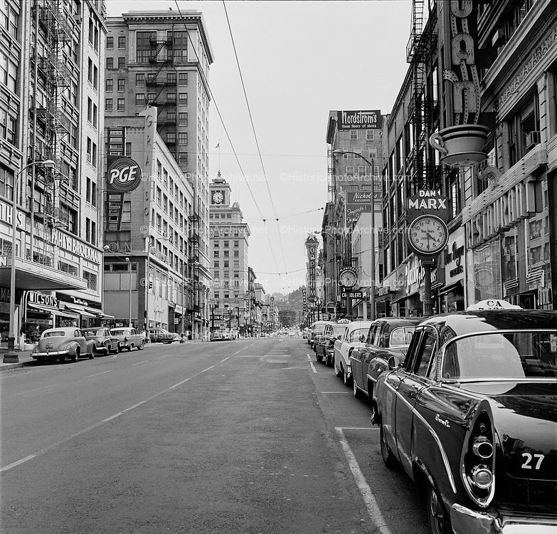 Y-580704-20.  SW Broadway downtown Portland July 4, 1958
