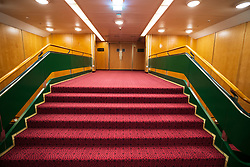 Stairway leading to theatre on the Queen Elizabeth 2 former ocean liner now reopened as hotel in Dubai , United Arab Emirates