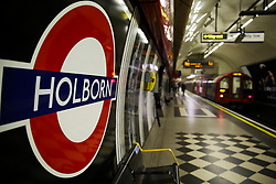 © Licensed to London News Pictures. 15/03/2020. London, UK. An empty platform at Holborn station amid an increased number of coronavirus (COVID-19) cases in the UK. 21coronavirus victims have died and 820 cases have tested positive of the virus in the UK of which 167 in London. Photo credit: Dinendra Haria/LNP