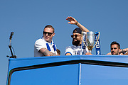 Brighton & Hove Albion full back Bruno Saltor (Captain) and Brighton & Hove Albion goalkeeper David Stockdale during the Brighton & Hove Albion Football Club Promotion Parade at Brighton Seafront, Brighton, East Sussex. United Kingdom on 14 May 2017. Photo by Ellie Hoad.