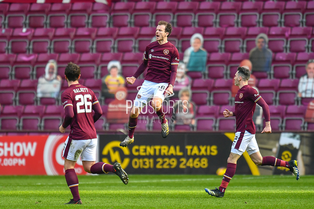 GOAL 1-0 Andy Halliday (#16) of Heart of Midlothian FC scores the opening goal during the SPFL Championship match between Heart of Midlothian and Dundee at Tynecastle Park, Edinburgh, Scotland on 6 March 2021.