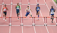 191001 -- DOHA, Oct. 1, 2019 -- Karsten Warholm C of Norway competes during the men s 400m hurdles final at the 2019 IAAF World Championships in Doha, Qatar, Sept. 30, 2019.  SPQATAR-DOHA-IAAF WORLD ATHLETICS CHAMPIONSHIPS-MEN S 400M <br />  Norway only